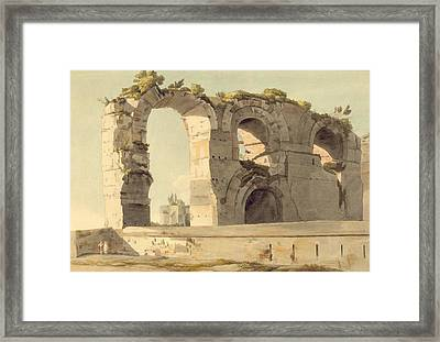 The Claudian Aqueduct, Rome, 1785 Wc, Pen, Ink And Graphite On Paper Framed Print by Francis Towne