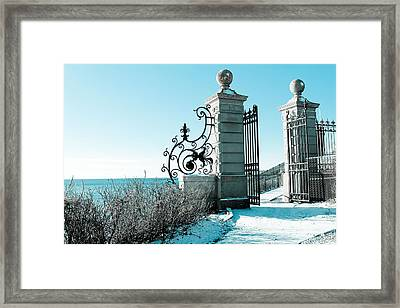 The Cliff Walk Covered In Snow Framed Print by Allan Millora
