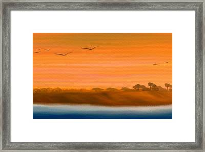 The Cliffs At Sunset - Digital Artwork Framed Print by Gina Lee Manley