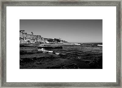The Cliffs Of Pismo Beach Bw Framed Print