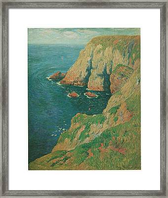The Cliffs Of Stang Ile De Croix Framed Print by Henry Moret