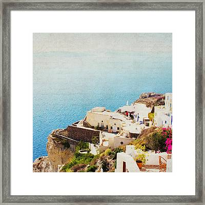 The Cliffside - Santorini Framed Print