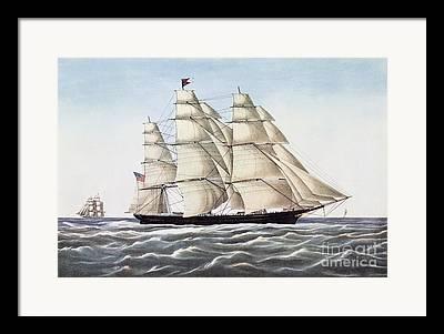 Docked Sailboats Drawings Framed Prints