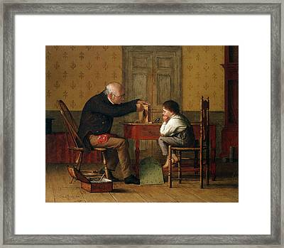 The Clock Doctor, 1871 Framed Print by Enoch Wood Perry