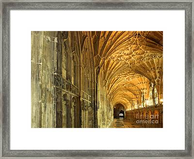 The Cloisters Of Gloucester Cathedral Framed Print by Colin Woods