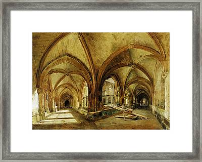 The Cloisters Of St. Wandrille, C.1825-30 Oil On Canvas Framed Print by Louis Eugene Gabriel Isabey