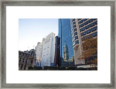 The Clothespin Statue And Reflection Of The Philadelphia City Hall Framed Print by Bill Cannon