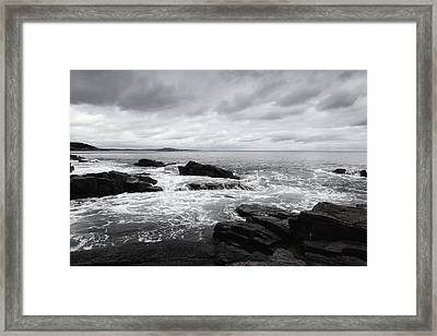 The Cloudy Day In Acadia National Park Maine Framed Print by Paul Ge