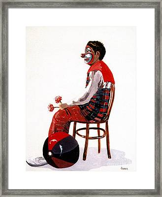Framed Print featuring the painting The Clown, Intermission by Joyce Gebauer