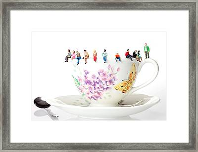 The Coffee Time Little People On Food Framed Print by Paul Ge