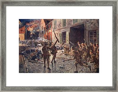 The Coldstream Guards At Landrecies Framed Print by William Barnes Wollen