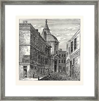 The College Of Physicians Warwick Lane 1868 London Framed Print by English School