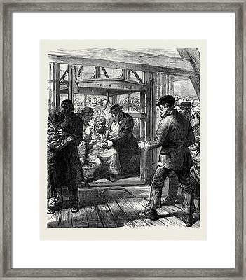 The Colliery Explosion In Staffordshire A Survivor Brought Framed Print