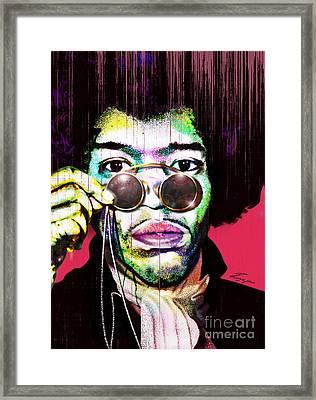 The Color Of Rock - Jimi Hendrix Series Framed Print by Reggie Duffie