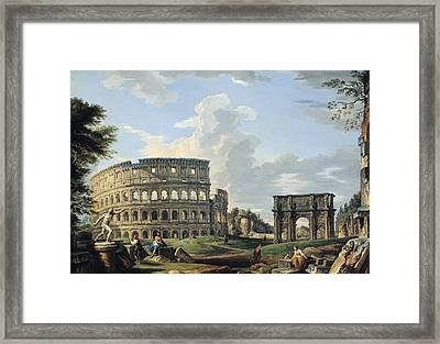 The Colosseum And The Arch Of Constantine Framed Print