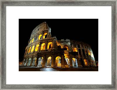 The Colosseum At Night Framed Print by Jeremy Voisey