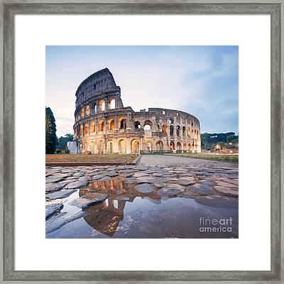 The Colosseum At Sunrise Rome Italy Framed Print