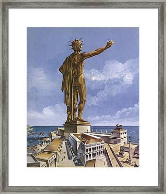 The Colossus Of Rhodes Colour Litho Framed Print by English School
