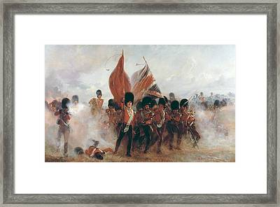 The Colors Advance Of The Scots Guards At The Alma Framed Print by Lady Butler