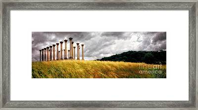 The Columns And The Storm Framed Print by Mike Nellums