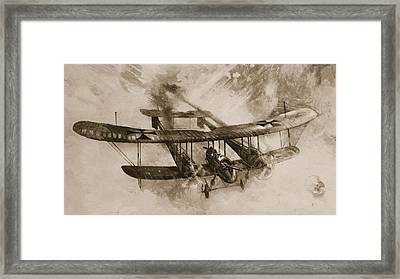 German Biplane From The First World War Framed Print by English School