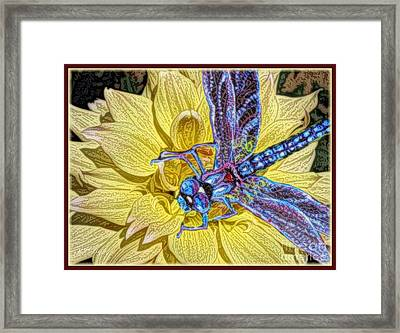 The Complement Of A Yellow Dahlia Is A Blue Dragonfly Framed Print by Kimberlee Baxter