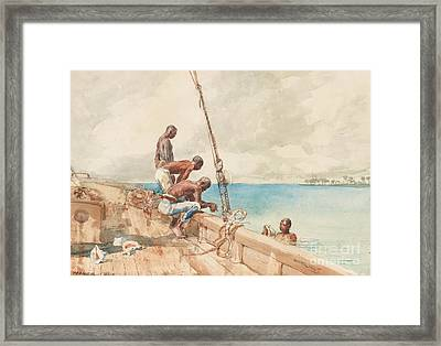 The Conch Divers Framed Print by Winslow Homer