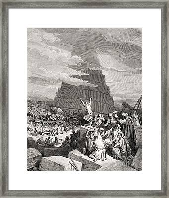 The Confusion Of Tongues Framed Print by Gustave Dore