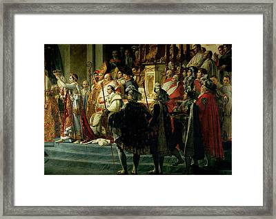 The Consecration Of The Emperor Napoleon 1769-1821 And The Coronation Of The Empress Josephine Framed Print by Jacques Louis David