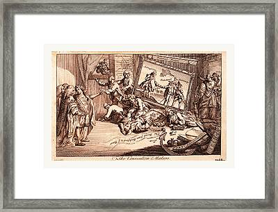 The Convention Makers, England 1771, The Interior Of A Room Framed Print by Litz Collection