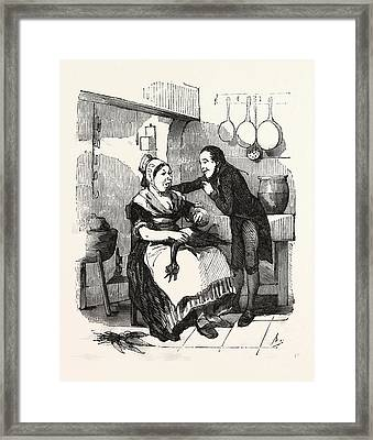 The Cook And Her Admirer In The Kitchen, Cleaning A Goose Framed Print by French School