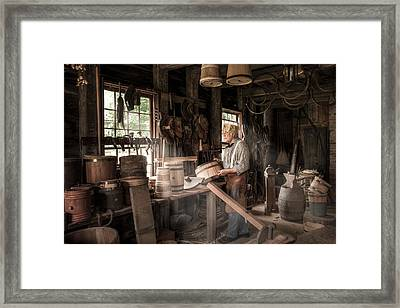 Framed Print featuring the photograph The Cooper - 19th Century Artisan In His Workshop  by Gary Heller