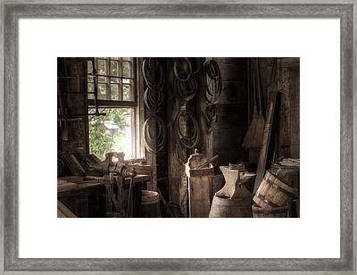 The Coopers Window - A Glimpse Into The Artisans Workshop Framed Print