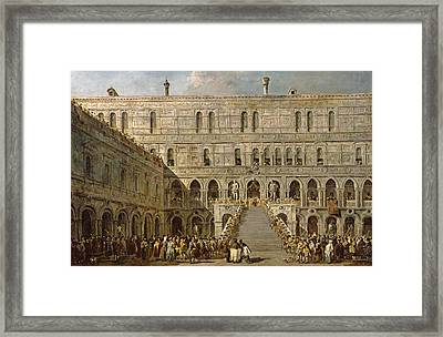 The Coronation Of The Doge Of Venice On The Scala Dei Giganti Of The Palazzo Ducale, 1766-70 Oil Framed Print