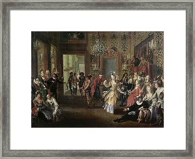 The Costume Ball Oil On Canvas Framed Print by French School