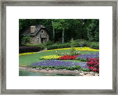 The Cottage And The Garden By The Pond Framed Print by Sabrina L Ryan