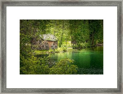 The Cottage By The Lake Framed Print
