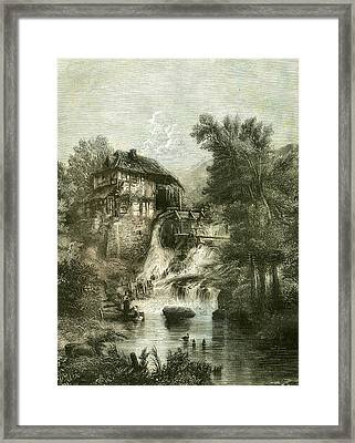 The Cottage By The Mill U.k Framed Print