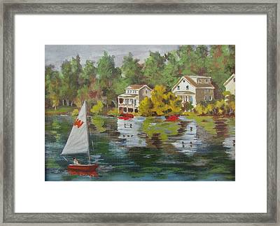 Framed Print featuring the painting The Cottages by Tony Caviston