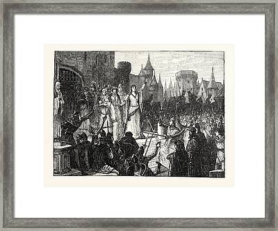 The Countess De Montfort Inciting The People Of Rennes Framed Print