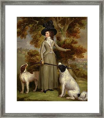 The Countess Of Effingham With Gun And Shooting Dogs Signed Framed Print by Litz Collection