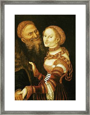 The Courtesan And The Old Man, C.1530 Oil On Canvas Framed Print by Lucas, the Elder Cranach