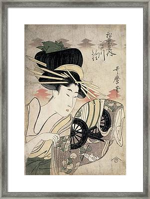 The Courtesan Ichikawa Of The Matsuba Establishment, Late 1790s Colour Woodcut Framed Print by Kitagawa Utamaro