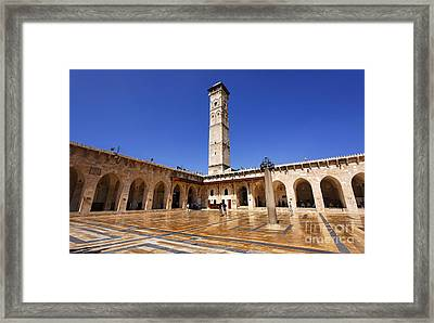The Courtyard Of The Great Mosque In Aleppo Syria Framed Print by Robert Preston
