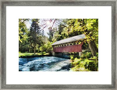 The Covered Bridge At The Red Mill Framed Print
