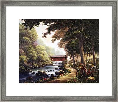 The Covered Bridge Framed Print by John Zaccheo