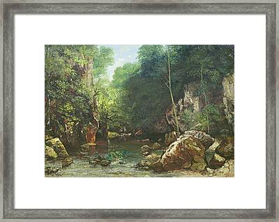 The Covered Stream, Or The Dark Stream, 1865 Oil On Canvas Framed Print by Gustave Courbet