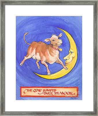 Framed Print featuring the painting The Cow Jumped Over The Moon by Lora Serra