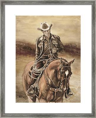 The Cowboy Framed Print by Sara Cuthbert
