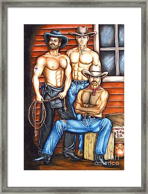 Framed Print featuring the drawing The Cowboy Way by Joseph Sonday